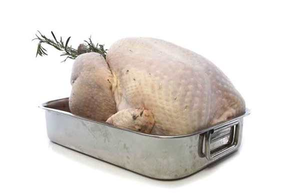 How to Thaw a Turkey - Defrosted turkey in pan