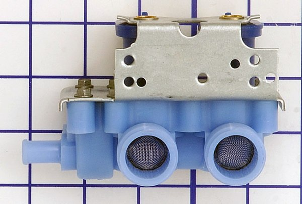 GE Washer Water Inlet Valve. This part controls the water and water temperature filling the washer.